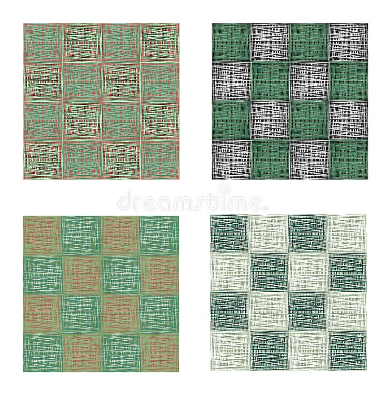 Abstract green urban geometric seamless pattern set. Squares, stripes, lines. Modern grunge, texture background vector illustration