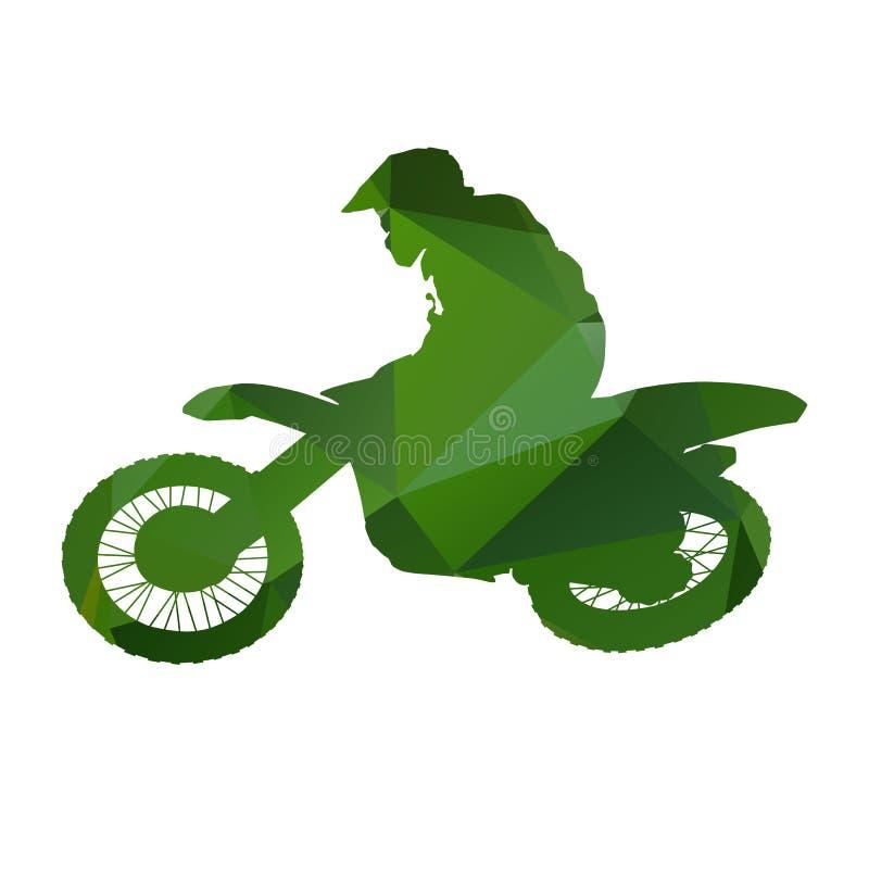 Abstract Green vector motocross racer. Abstract Green isolated vector motocross racer stock illustration