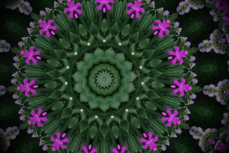 Abstract green violet background mandala floral pattern of palm. Monstera leaves and orchid flowers with kaleidoscope effect stock images