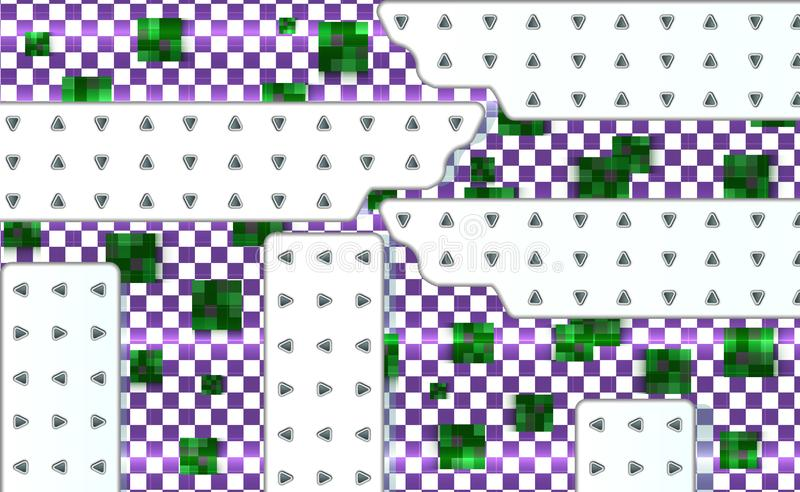 Abstract green and violet background with mesh of squares. Geometric template with white technical panels. Mosaic vector illustrat vector illustration