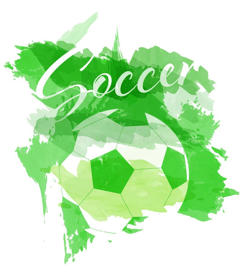 Abstract green watercolor splashes with soccer ball silhouette vector illustration