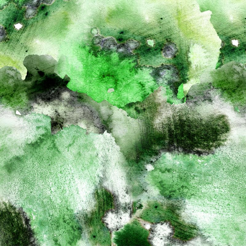 Abstract green watercolor on white background.The color splashing in the paper.It is a hand drawn. vector illustration