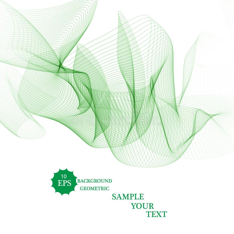 Abstract green wavy lines. Colorful vector background. vector illustration