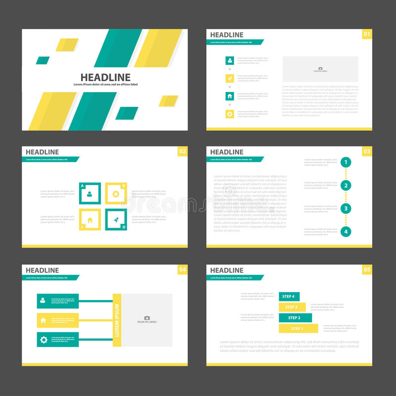 Abstract Green yellow presentation templates Infographic elements flat design set for brochure flyer leaflet marketing vector illustration