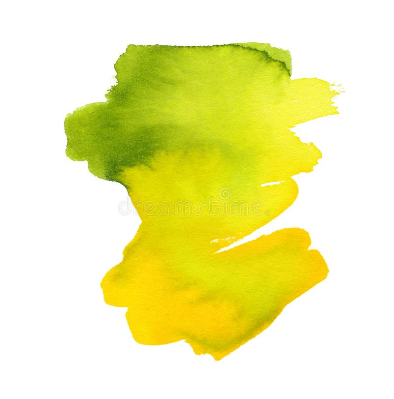 Abstract green and yellow watercolor background. The color splashing in the paper. Acrylic painting texture. royalty free illustration