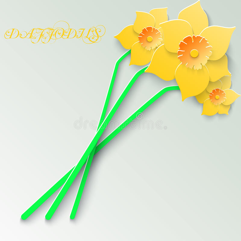 Abstract greeting card with 3d yellow daffodils. Spring floral paper background. royalty free illustration