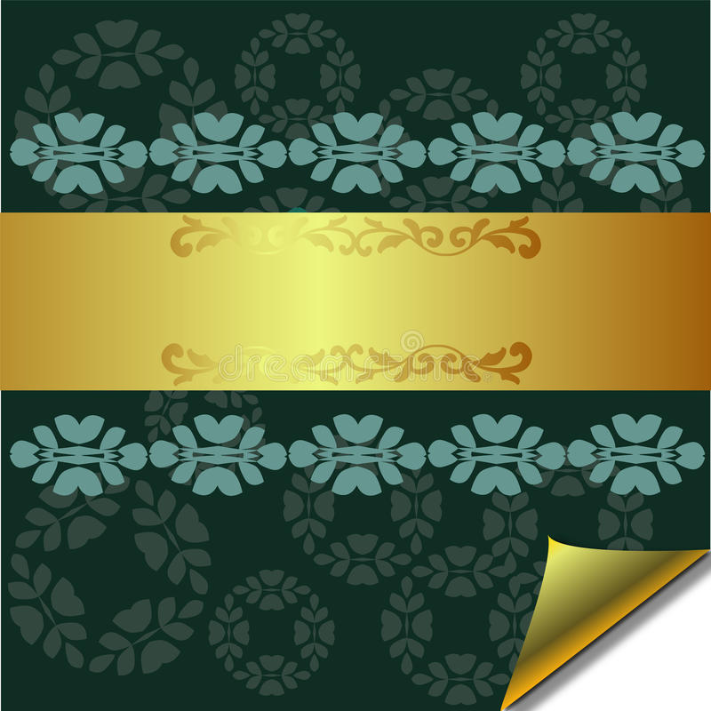Abstract greeting card with Gold and Green element vector illustration