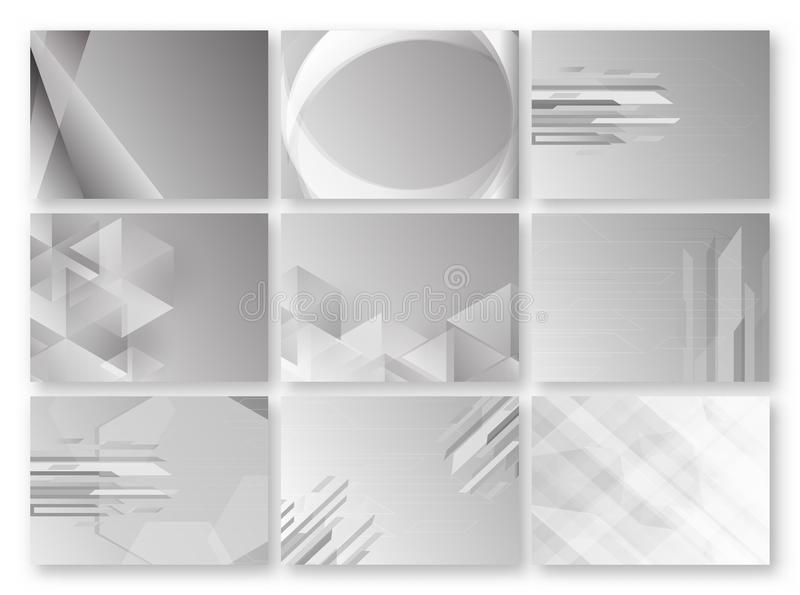 Abstract grey background with text space. Set of polygon template in black and white tone. Web banner design. Vector illustration. stock illustration