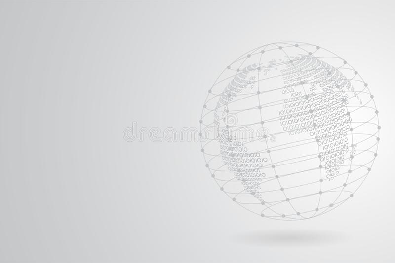 Abstract Grey Binary world map with Polygonal Space Background with Connecting Dots and Lines stock illustration