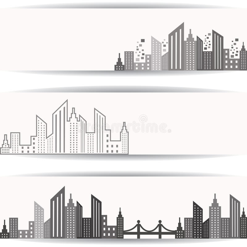 Abstract grey real estate design for website banner stock illustration
