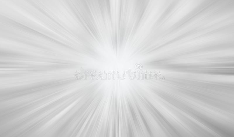 Abstract grey white blurred radiant exploding sunburst banner background. royalty free illustration