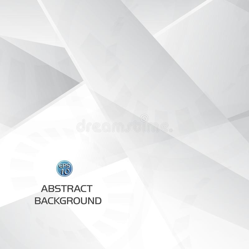 Abstract grey and white geometric technology background with gear shape stock illustration