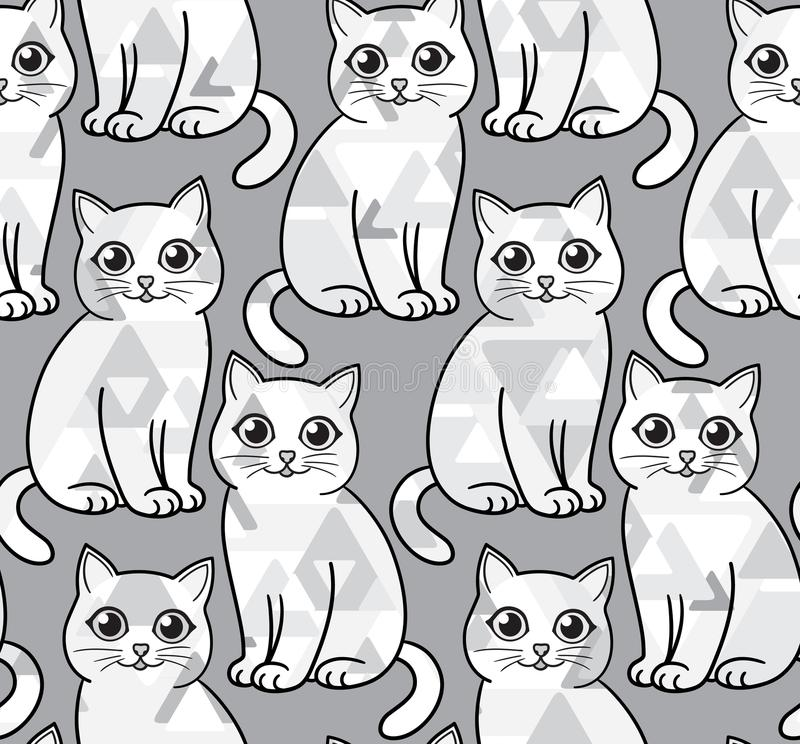 Download Abstract Greyscale Funny Cats Vector Seamless Pattern Stock
