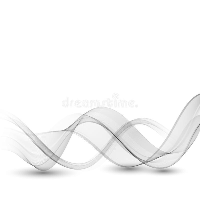 Abstract grijs het ontwerpelement van de kleurengolf Grey Wave Grijze rookgolf Transparant grijs golfelement stock illustratie