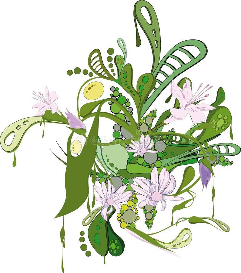 Abstract groen ornament met bloemen royalty-vrije illustratie