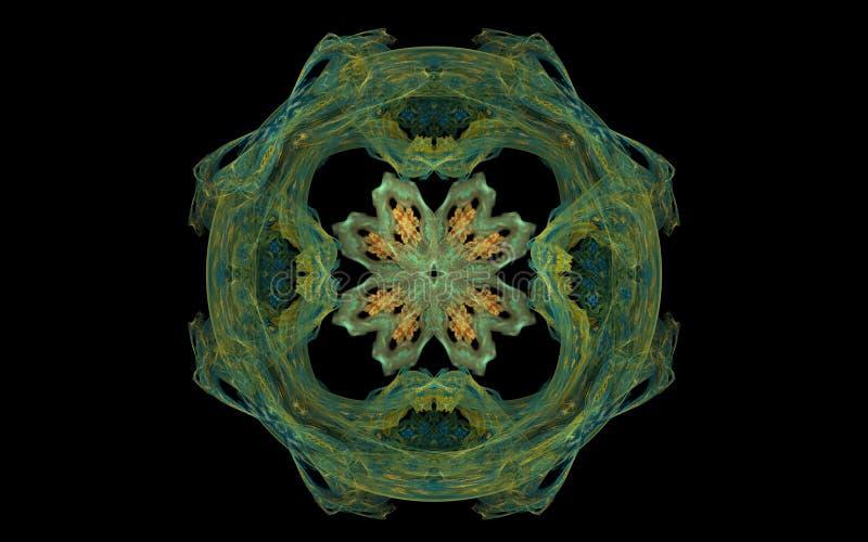 Abstract groen symbool in de vorm van een cirkel met een bloem binnen op een zwarte achtergrond voor Webontwerp en computergrafie royalty-vrije illustratie