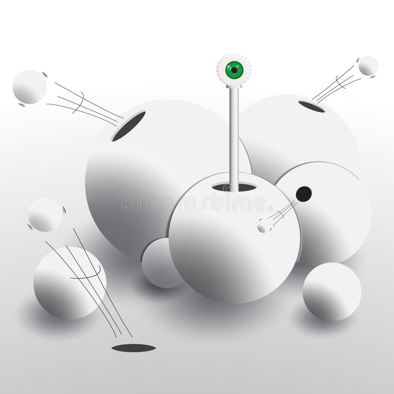 Abstract group of spheres with holes from which fly balls and ap. Pears all-seeing eye. Vector illustration in shades of gray stock illustration