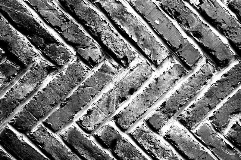 Abstract grunge background - black and white brick wall stock photo