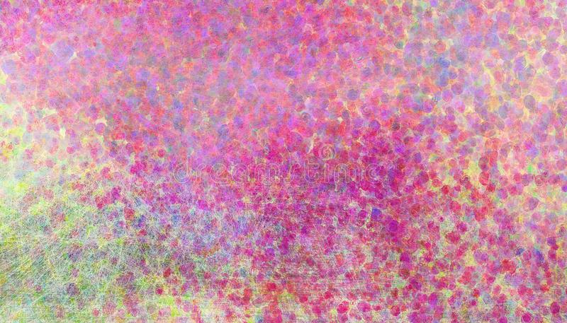 Abstract grunge background with colorful glitter bokeh design with faded glassy and scratched textured paint spots and dots stock illustration