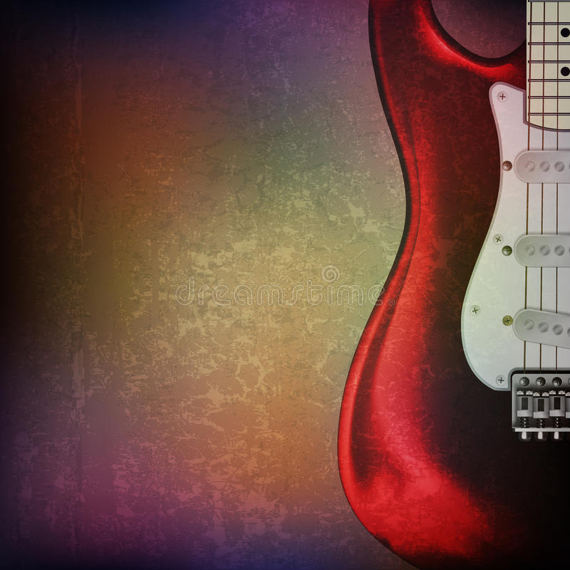 Abstract grunge background with electric guitar. Abstract grunge music background with electric guitar on brown vector illustration stock illustration