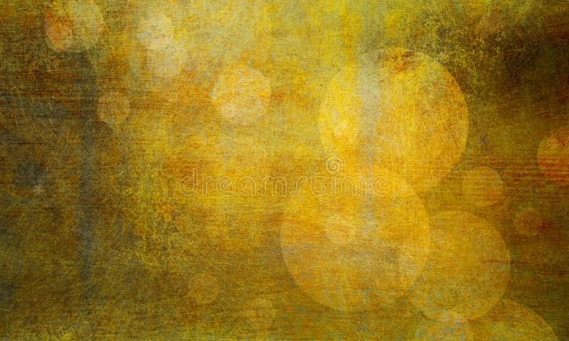 Abstract grunge background with old distressed grungy vintage texture, gold bokeh circles in messy faded textured design stock illustration
