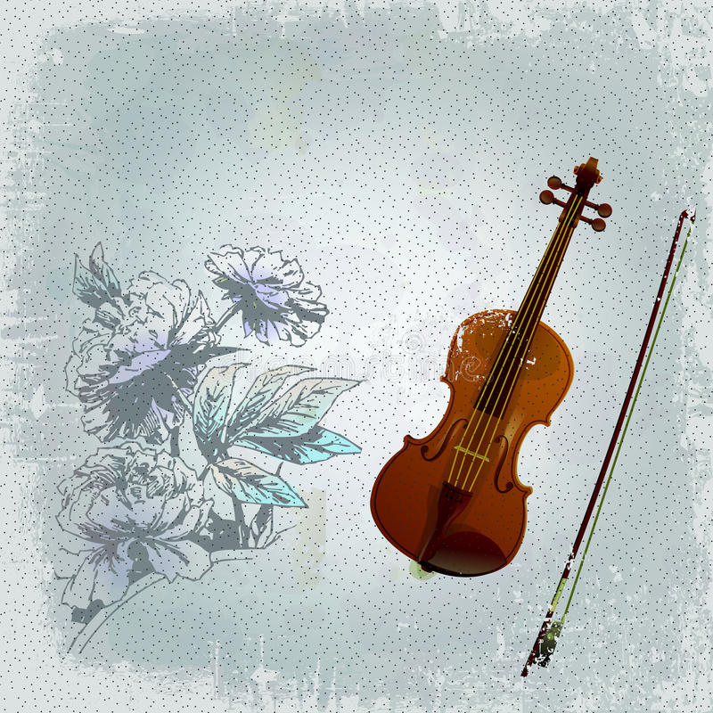 Download Abstract Grunge Background With An Old Violin Stock Illustration - Illustration of antique, background: 25153883