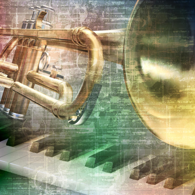 Abstract grunge background with trumpet. Abstract gray grunge vintage music background with piano and trumpet royalty free illustration