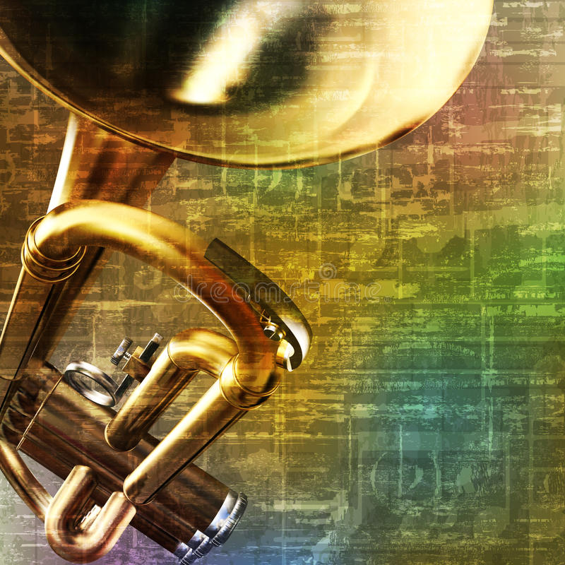Abstract grunge background with trumpet. Abstract green music grunge background with trumpet vector illustration royalty free illustration