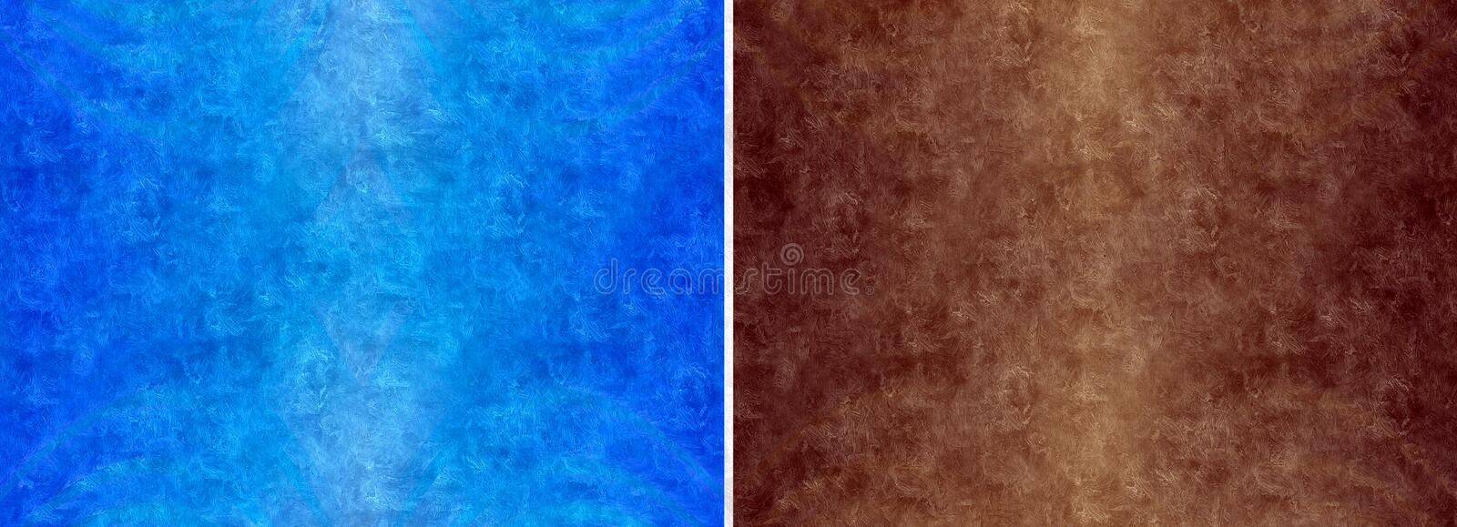 Abstract grunge background. Set of two abstract blue and brown background with dirty and scratched texture, made with watercolor style stock photography