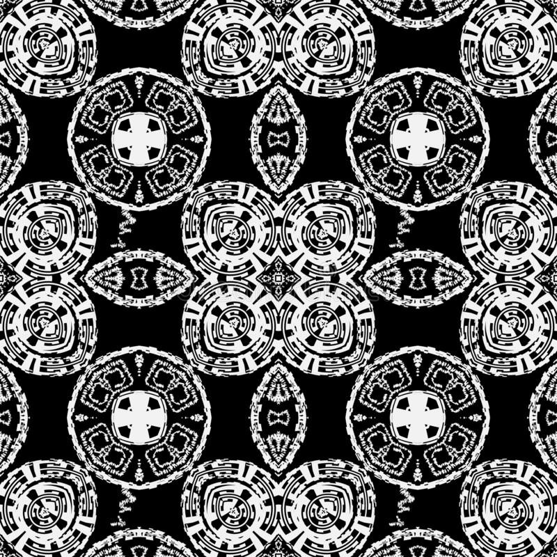Abstract grunge black and white vector seamless pattern. Monochrome modern ornamental background. Elegant grungy tribal vector illustration