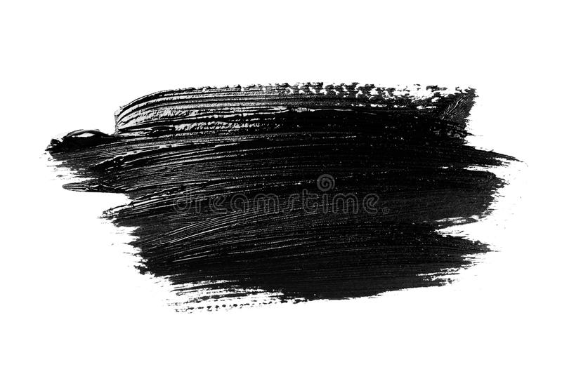 Abstract grunge brush stroke isolated. Abstract grunge brush stroke made with slack acrylic paint, isolated on white. Perfect for your design stock image
