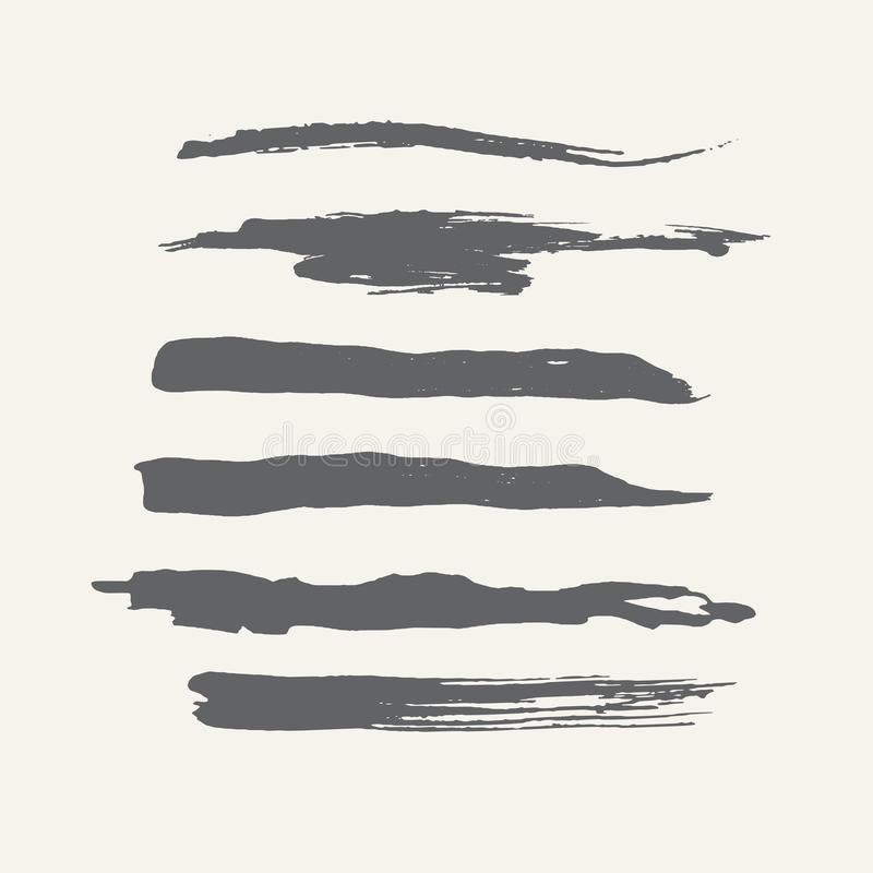 Abstract grunge curly handmade grey brushes. royalty free illustration