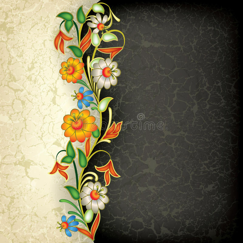 Free Abstract Grunge Floral Ornament With Flowers Stock Photos - 19606823
