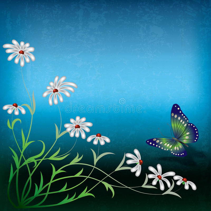 Abstract illustration with flowers and butterfly. Abstract grunge illustration with flowers and butterfly royalty free illustration