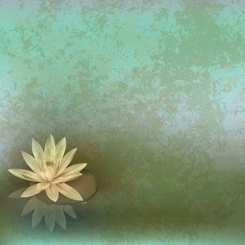 Abstract grunge illustration with lotus stock illustration