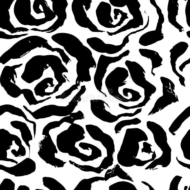 Abstract grunge ink seamless flower background. Roses black brush pattern. Vector illustration. vector illustration
