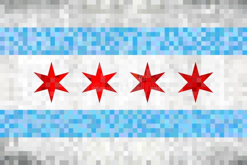 Abstract grunge mosaic flag of Chicago. Illustration royalty free illustration