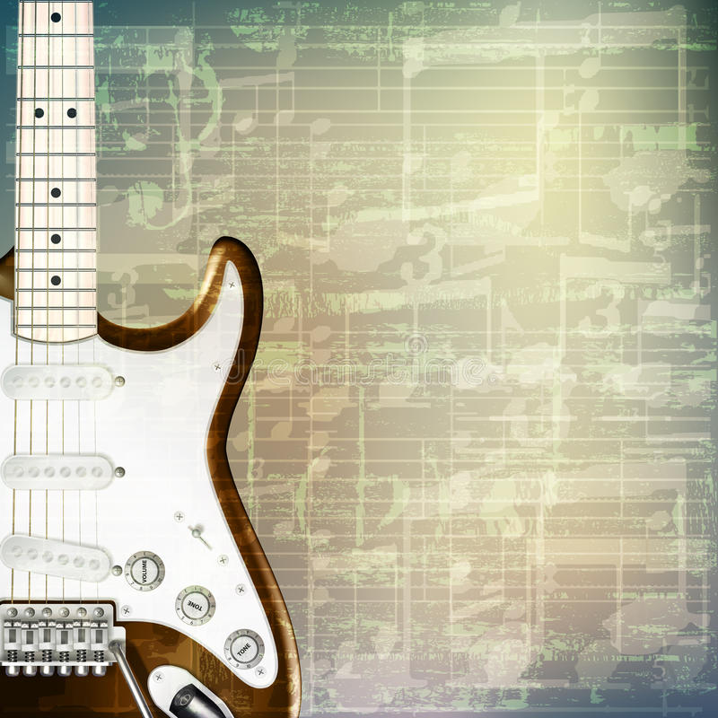 Abstract grunge music background with electric guitar. Abstract grunge green cracked music symbols vintage background with electric guitar stock illustration