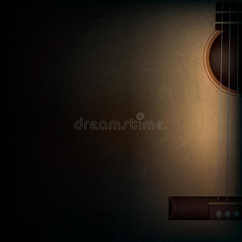 Abstract grunge music background with guitar on bl vector illustration