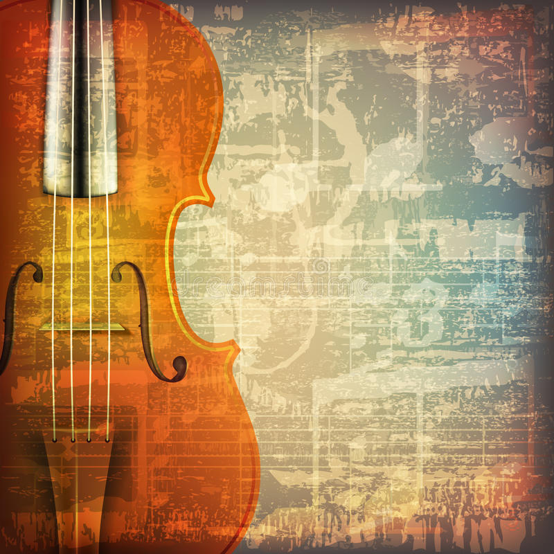 Abstract grunge music background with violin vector illustration