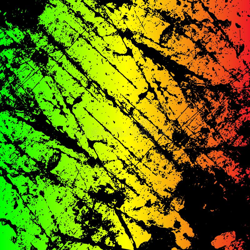 grunge painted scratched texture background . EPS10 illustration reggae colors green, yellow, red vector illustration