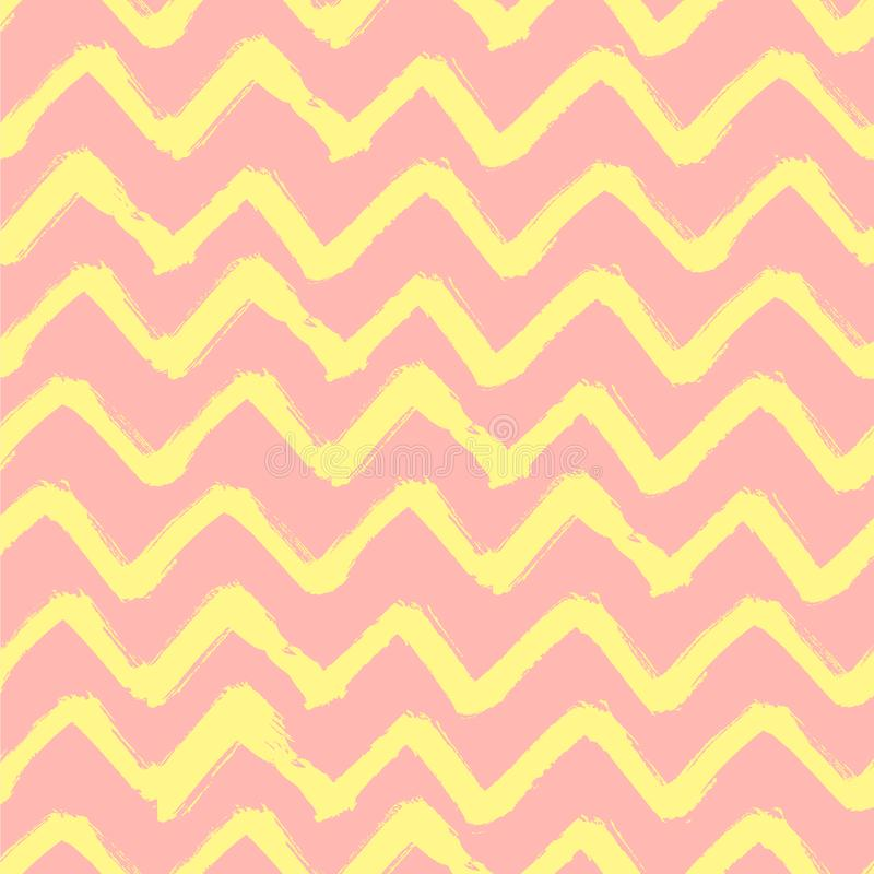 Abstract Grunge pink and yellow background. Chevron Zigzag Paint Brush Strokes Seamless pattern. Abstract Grunge pink and yellow background. Chevron Zigzag vector illustration