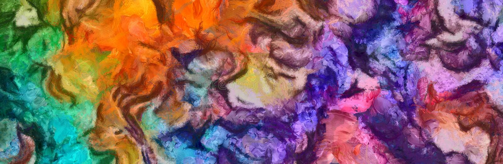 Colorful dirty grunge abstract background. Dry oil paint brush strokes. Close up design pattern. Abstract grunge texture closeup background. Oil painting design vector illustration