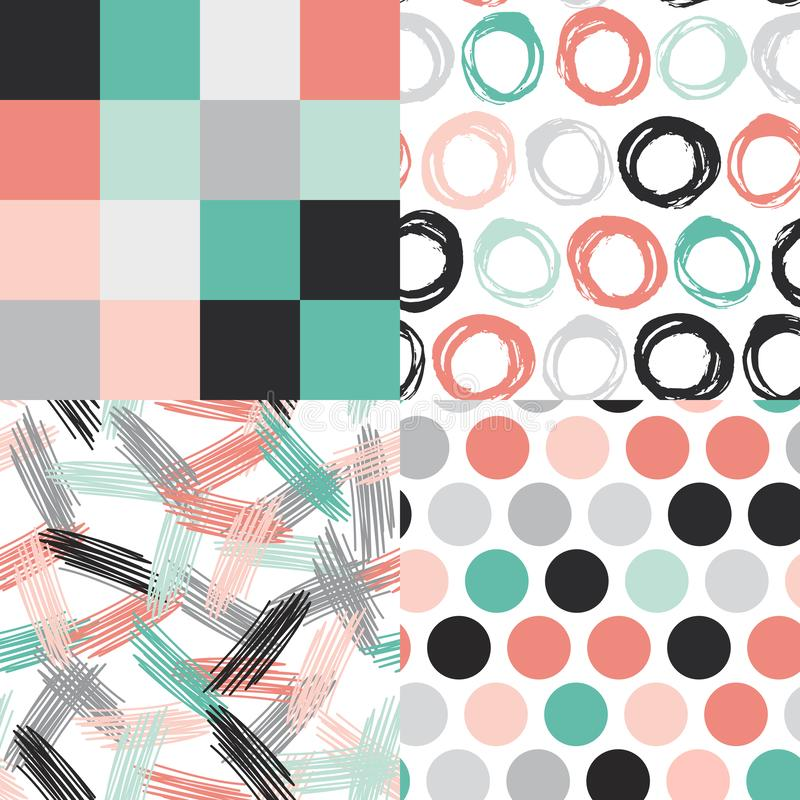 Abstract grunge texture Seamless pattern. polka dot, doodle square, circles. green gray pink beige black on white background. vector illustration
