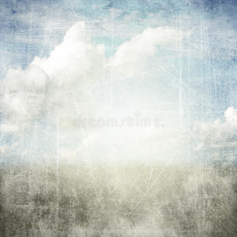 Abstract grunge textured background with clouds. An abstract grunge texture background with clouds. Page to design photo books stock illustration