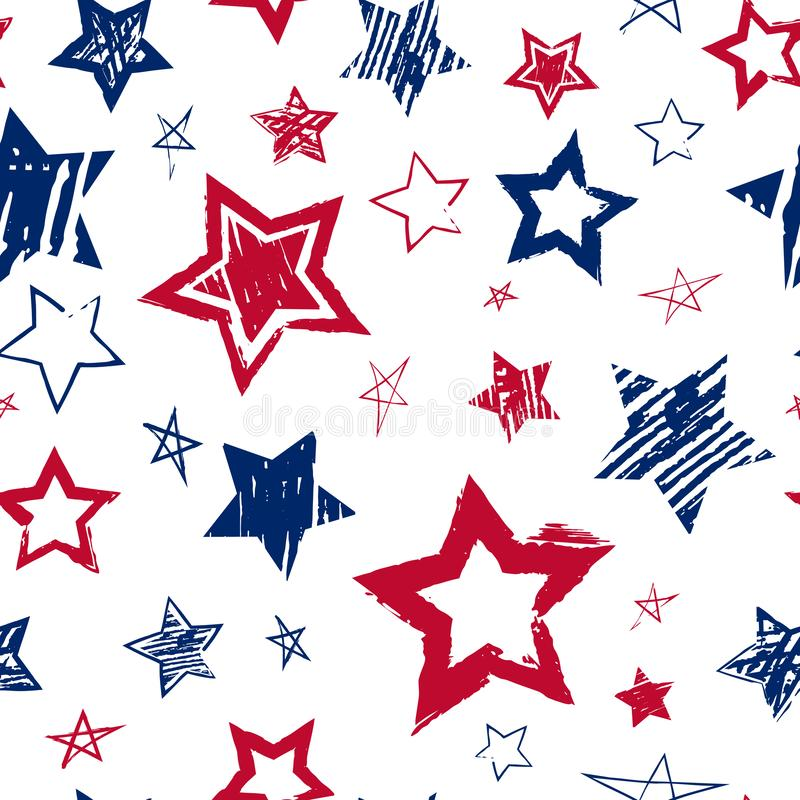 Vector seamless pattern with hand drawing red and blue stars on white background. Grunge repitting backdrop with patriotic stars. stock photos