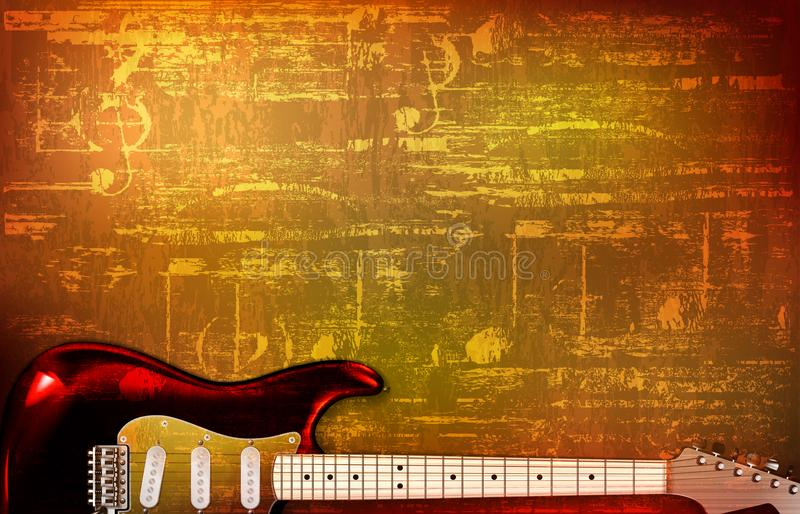 Abstract grunge vintage sound background electric guitar vector illustration. Abstract brown grunge vintage sound background electric guitar vector illustration royalty free illustration