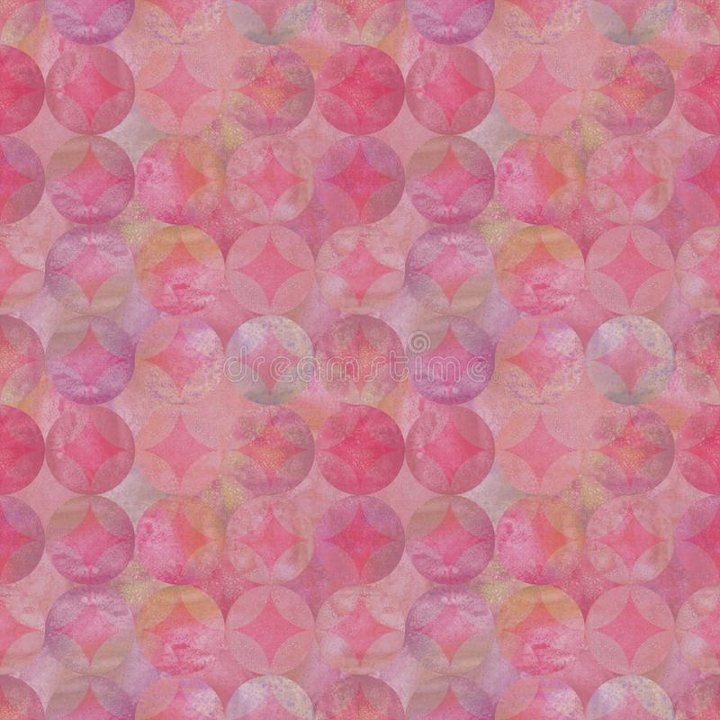 Abstract grunge pink watercolor seamless pattern with overlapping colorful circles background stock illustration