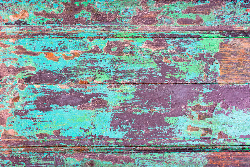 Abstract grunge wood planks texture background with peeled blue paint stock image