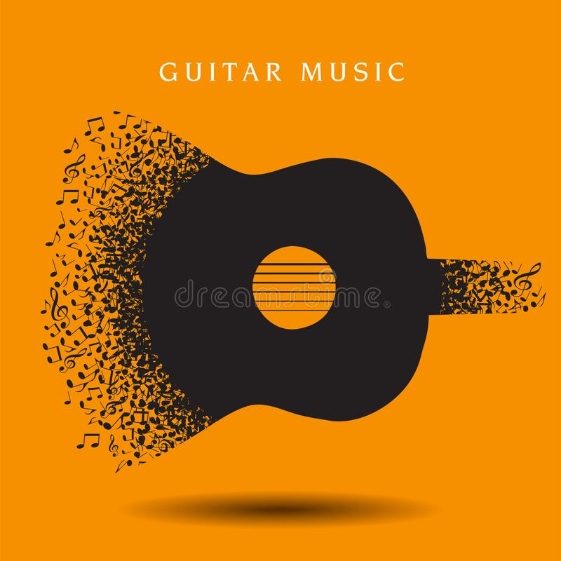 Abstract guitar background made with notes royalty free illustration